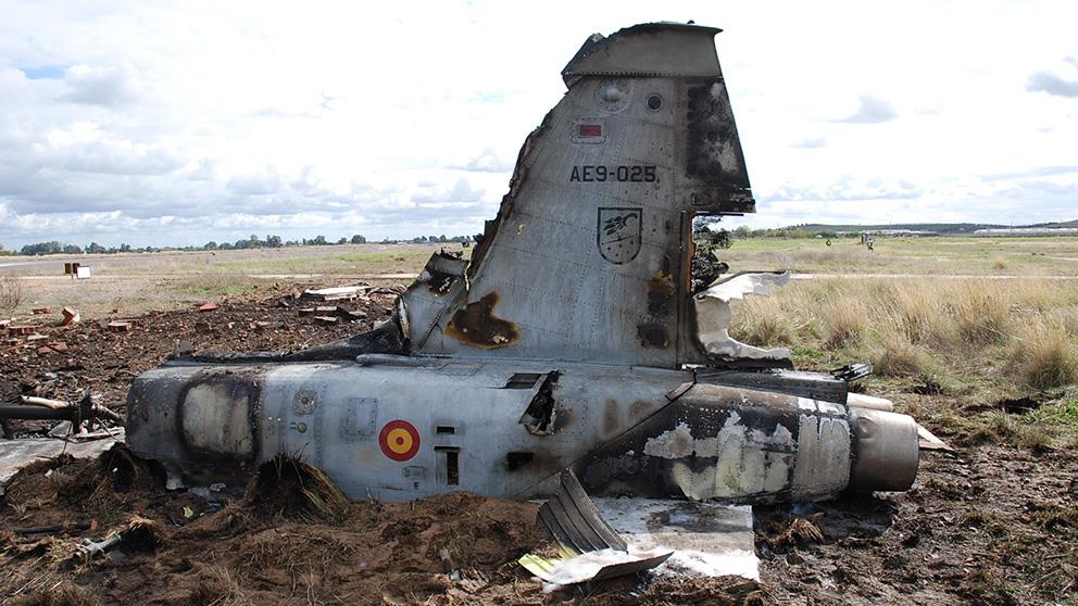 El caza F-5 accidentado en Badajoz