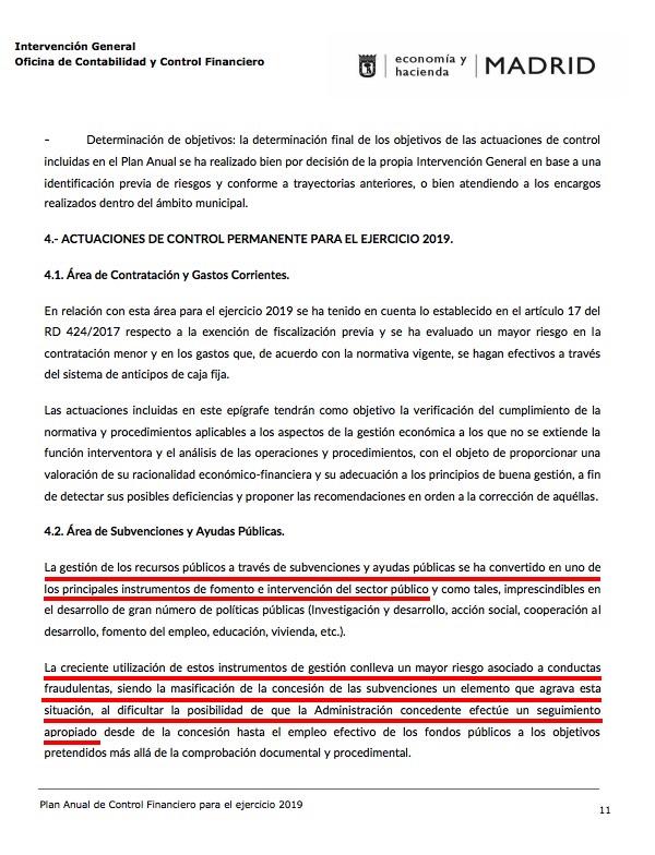 Informe de la Intervención General sobre el último año de Carmena. (Clic para ampliar)