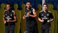 James, en el entrenamiento del Madrid de este lunes. (Realmadrid.com)