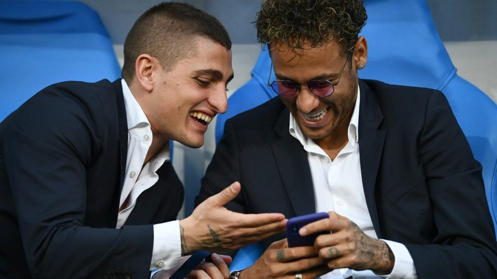 Neymar y Verratti, antes de un partido del PSG. (AFP)