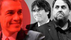 Pedro Sánchez, Oriol Junqueras y Carles Puigdemont