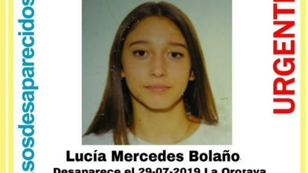 Cartel alertando de la desaparición de Lucía Mercedes Bolaño.