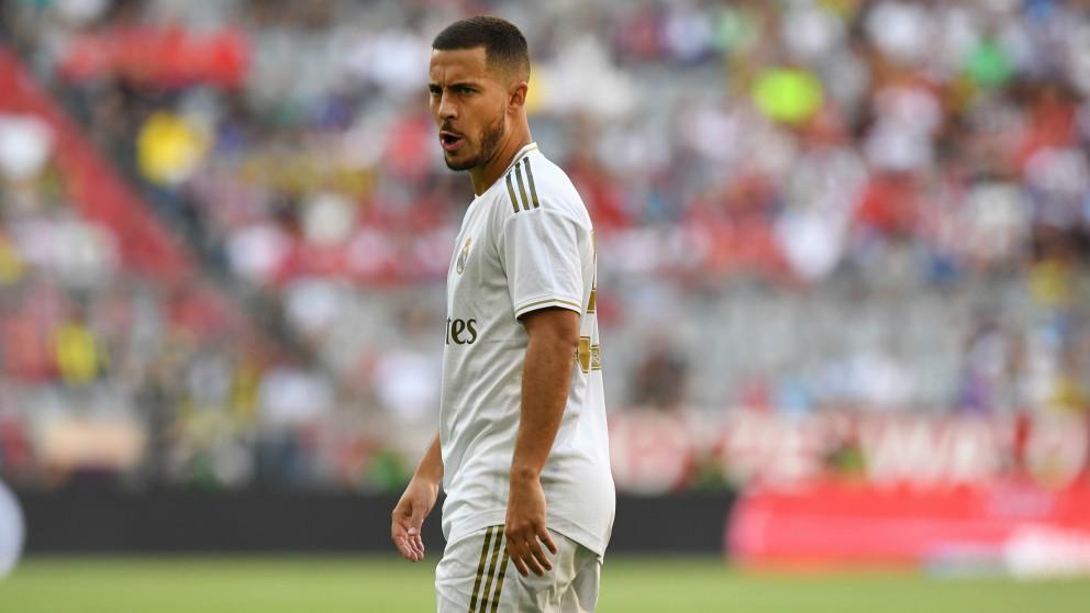 Eden Hazard durante un partido con el Real Madrid.
