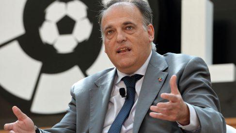 Javier-Tebas,-durante-un-acto-de-La-Liga-(AFP)