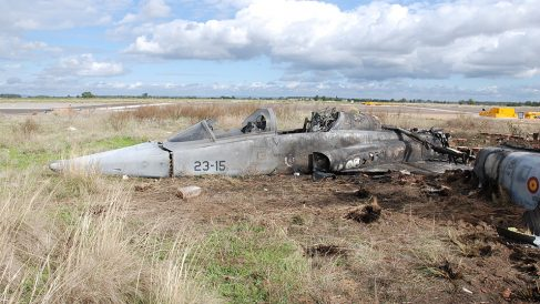El caza F-5 accidentado en 2012