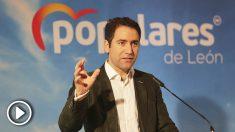 El secretario general del Partido Popular, Teodoro García Egea, interviene en la reunión del Comité Ejecutivo Extraordinario del PP de León. (Foto: Europa Press)