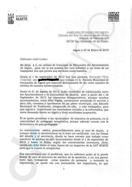 Carta de la edil Expósito de Frutos dirigida al alto cargo de la Consejería de Educación