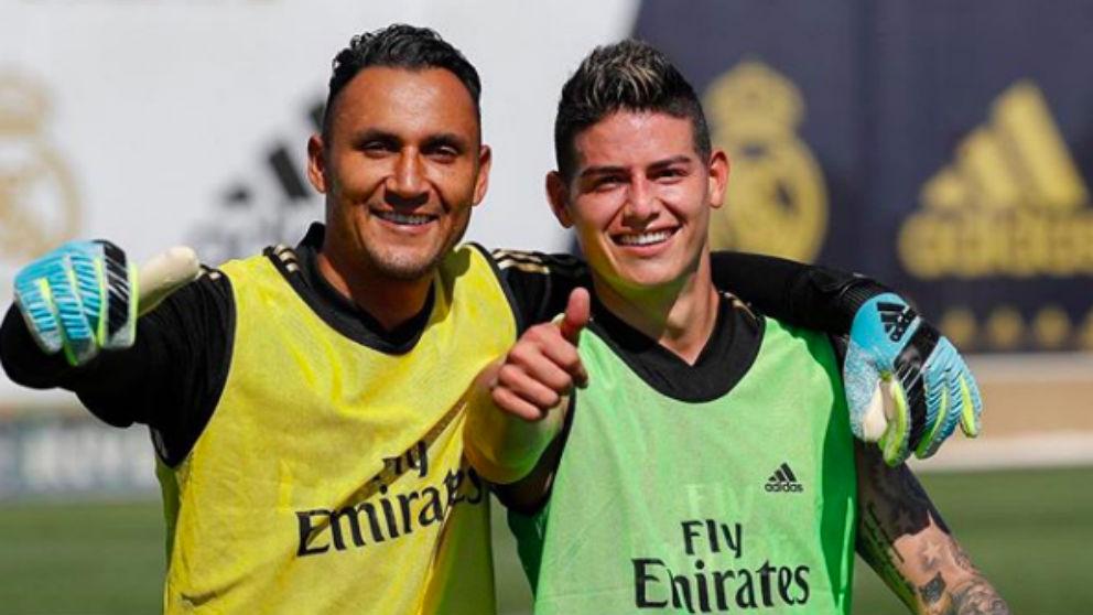 Keylor Navas y James Rodríguez.