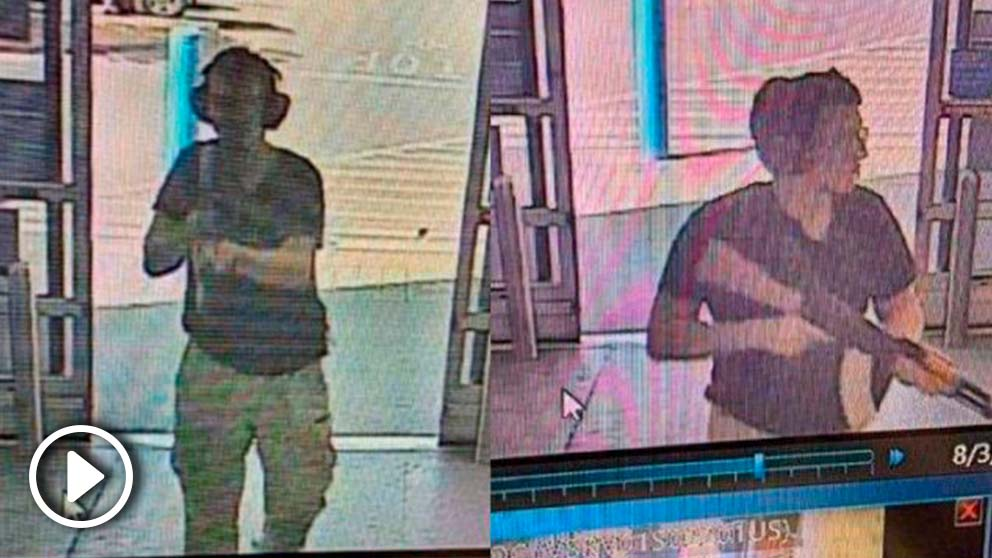 Imágenes del tirador de El Paso (Texas) tomadas de la cámara de seguridad del centro comercial Walmart donde se ha producido el ataque.