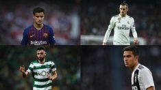Philippe Coutinho, Gareth Bale, Bruno Fernandes y Paulo Dybala.