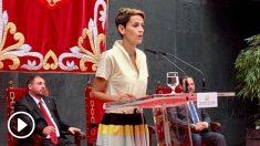 Chivite, durante su primer discurso como presidenta de Navarra. Foto: Joan Guirado
