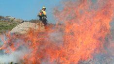 Un bombero trabaja en la extinción del incendio declarado en Miraflores de la Sierra. Foto: EP