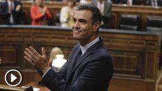 Pedro Sánchez durante la sesión de investidura de este jueves en el Congreso de los Diputados. (Foto: Francisco Toledo).