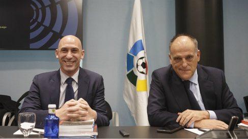 Luis Rubiales y Javier Tebas. (Europa Press)