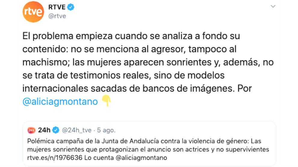 El tuit del perfil oficial de RTVE en Twitter que critica la campaña de la Junta contra el maltrato.