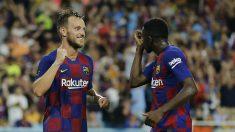 Rakitic celebra el gol del triunfo ante el Nápoles. (AFP)