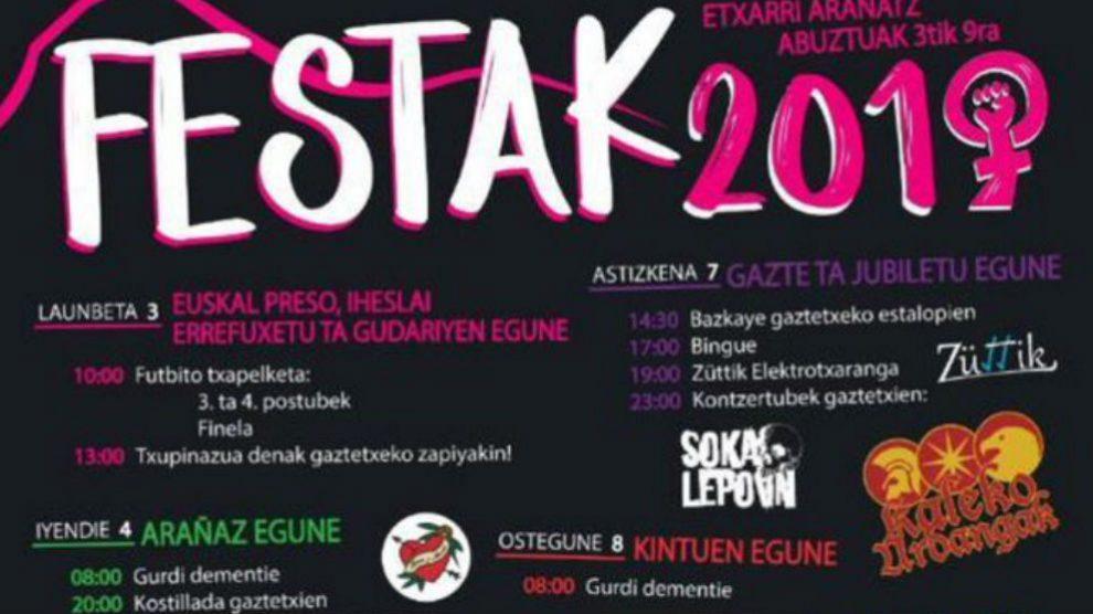 Cartel de las fiestas de 2019 en Etxarri Aranatz. (Twitter)