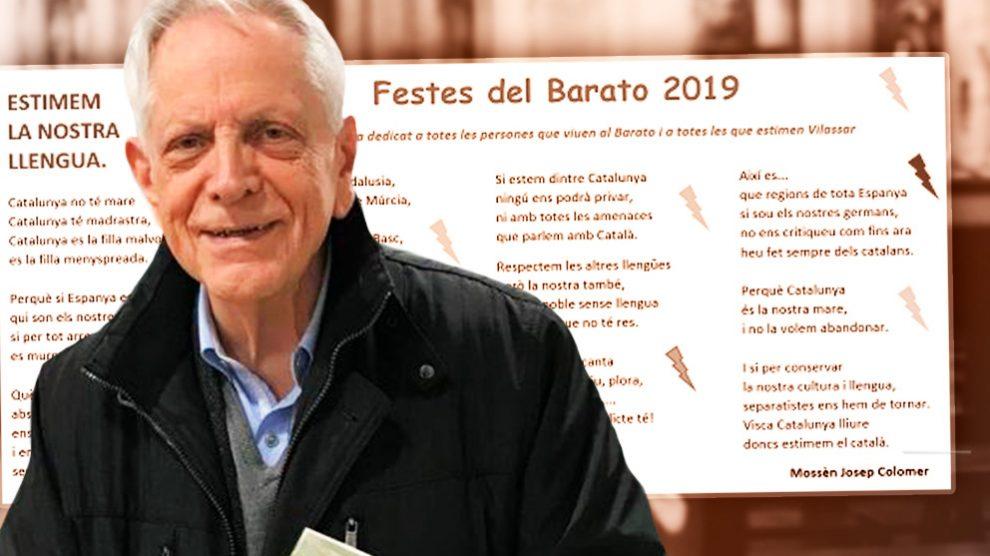 El párroco de Premiá de Dalt, Josep Colomer Busquets junto al poema en el que carga contra España.