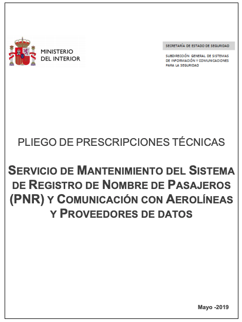 SERVICIO DE MANTENIMIENTO DEL SISTEMA DE REGISTRO DE NOMBRE DE PASAJEROS (PNR) Y COMUNICACIÓN CON AEROLÍNEAS Y PROVEEDORES DE DATOS