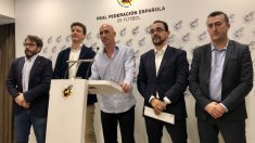 Luis Rubiales en la comparecencia de prensa tras conocer la decisión del juez en el 'caso horarios'. (@rfef)