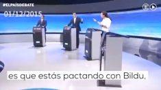 Albert Rivera, Pedro Sánchez y Pablo Iglesias en un debate electoral de diciembre de 2015.