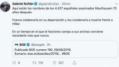 Tuit de Gabriel Rufián