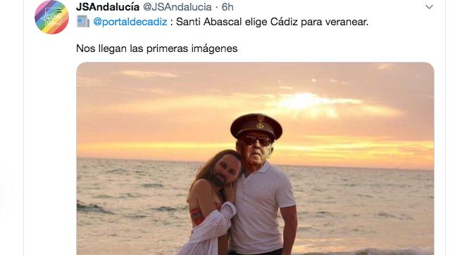Mensaje publicado por las Juventudes Socialistas de Andalucía en Twitter.