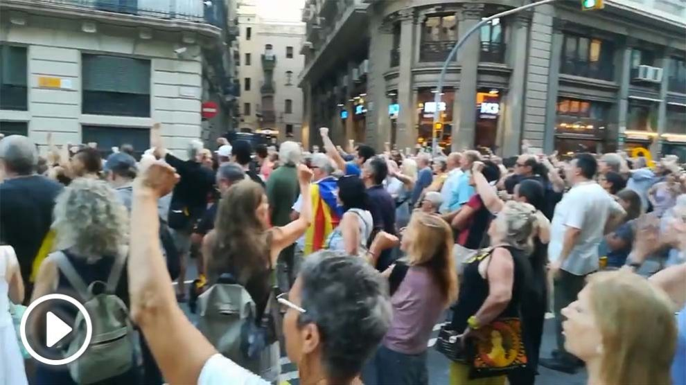 Manifestación a favor de los matones de Alsasua en Barcelona.