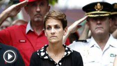 La presidenta del Gobierno de Navarra, María Chivite, este viernes durante le homenaje al subteniente Francisco Casanova (Foto: EFE).