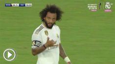 Marcelo celebra su gol ante la Roma.