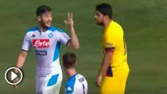 Manolas le recuerda a Luis Suárez el 3-0.