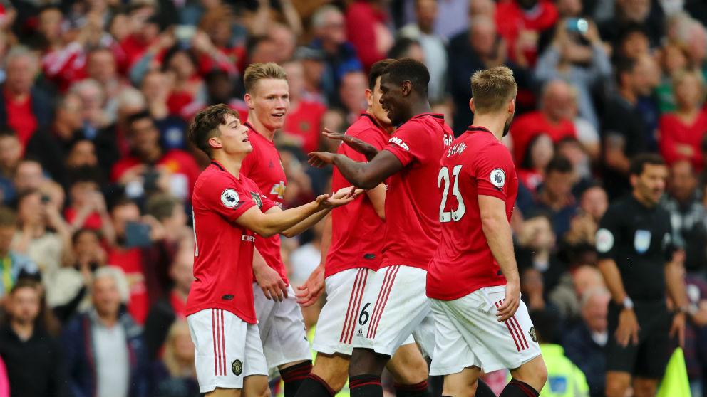 Pogba celebra uno de los goles del United. (Getty)