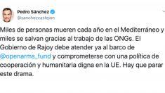 El tuit de Pedro Sánchez de abril de 2018.