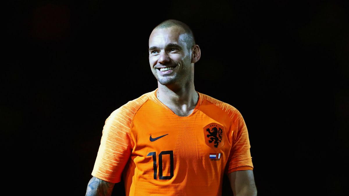 Wesley Sneijder, homenajeado por la selección de los Países Bajos (Getty)