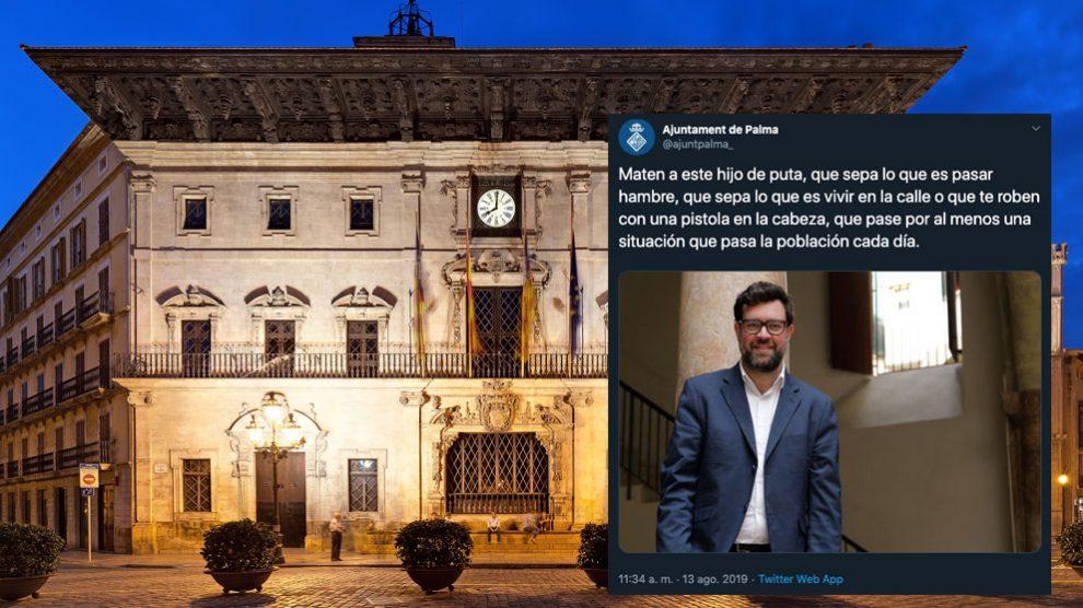 Ayuntamiento de Palma con unos de los mensajes volcados en la cuenta de twitter del consistorio pidiendo la muerte del concejal Antoni Noguera.