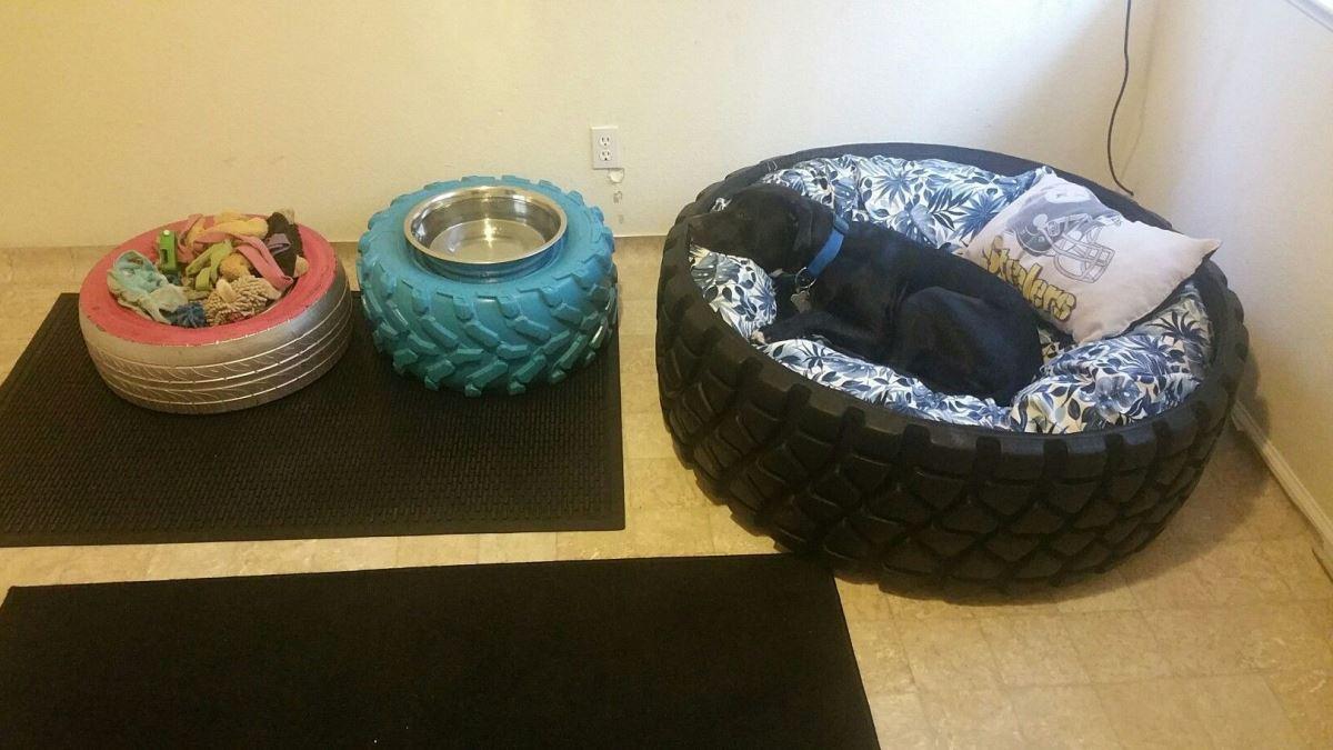 Los neumáticos se pueden reciclar de diferentes maneras para tu mascota