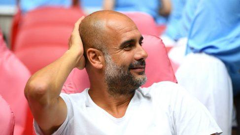 Guardiola, en un partido del Manchester City (Getty).