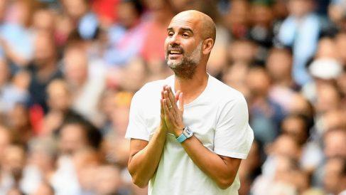 Guardiola, se lamenta durante un partido del Manchester City (Getty).