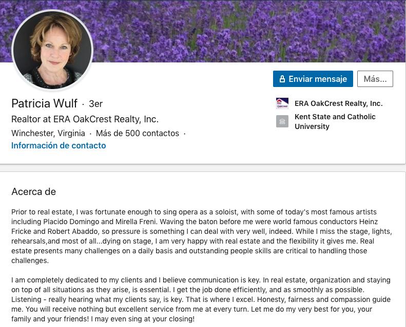Extracto de la experiencia profesional en LinkedIn @LinkedIn