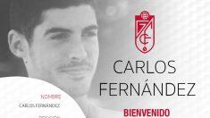 Carlos Fernández, nuevo fichaje del Granada (Granada Club de Fútbol)