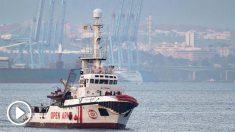El Open Arms en el Mediterráneo (Foto: AFP)