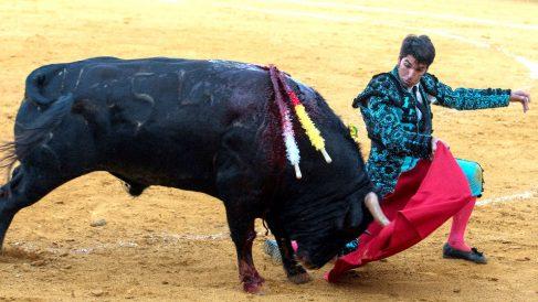 Cayetano durante la faena a su primer toro, este viernes en Ciudad Real (Foto: EFE).