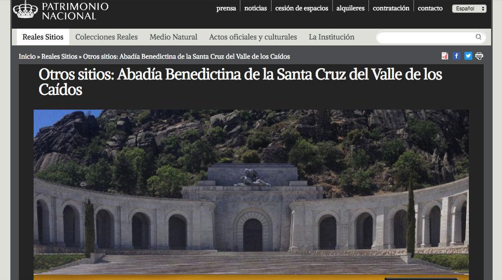 Patrimonio Nacional borra de su web los datos históricos del Valle de los Caídos