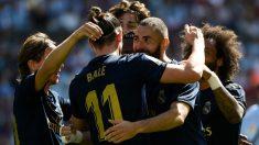 Los jugadores del Real Madrid celebran el 0-1 en Balaídos. (AFP)