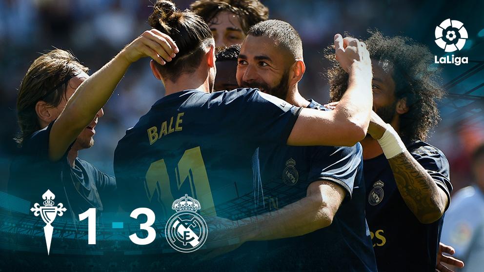 Los jugadores del Real Madrid celebran uno de los goles en Balaídos.