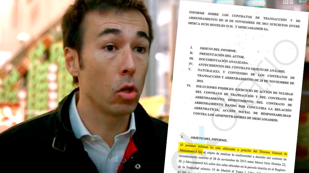 El director general de Mercamadrid, David Chica, junto a un extracto del informe que encargó para procesar al anterior equipo del PP.