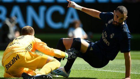 Benzema celebra su gol al Celta. (AFP)