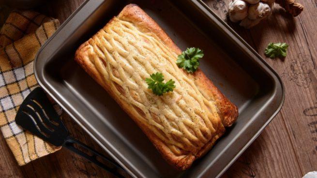 Receta de filetes de lenguado con hojaldre y crujiente de verduras