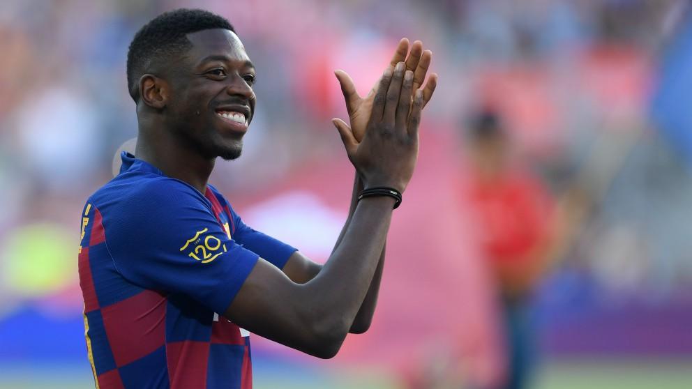 Dembélé, en la presentación del Barcelona. (AFP)
