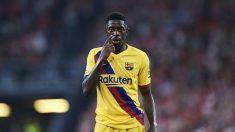 Dembélé, en un partido con el Barcelona. (AFP)